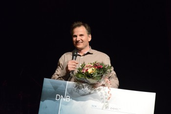 Stolt: - Denne prisen henger høyt, sa Sigbjørn Mostue etter at han vant Uprisen 2015. Foto: Vibeke Røgler/Foreningen !les.
